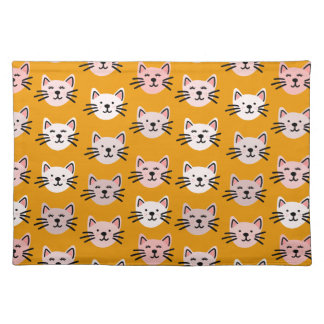 Cute cat pattern in yellow mustard placemat