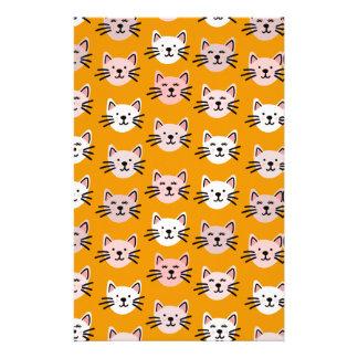 Cute cat pattern in yellow mustard stationery