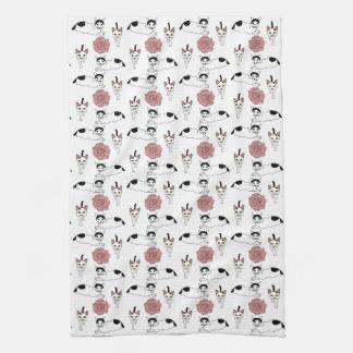 Cute cat pattern towel