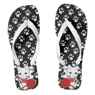 Cute cat paw print with playing kitten flip flops thongs