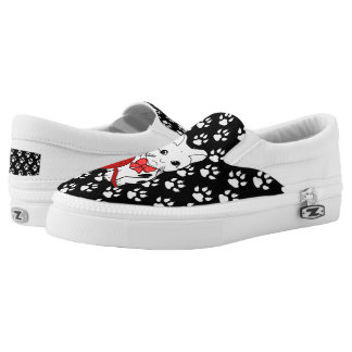 Cute cat paw print with playing kitten Slip on Printed Shoes