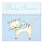 Cute Cat, Pearls & Hearts Blue Baby Boy Shower 13 Cm X 13 Cm Square Invitation Card