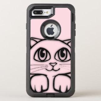 Cute Cat Peeking Pink OtterBox Defender iPhone 8 Plus/7 Plus Case