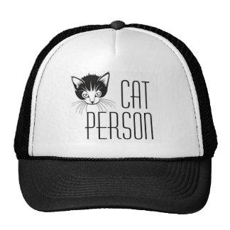 Cute Cat Person design with black cat Trucker Hats