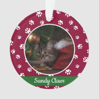Cute Cat Photo Name Year Red and White Paw Prints Ornament