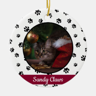 Cute Cat Photo Name Year with Black Paw Prints Ceramic Ornament