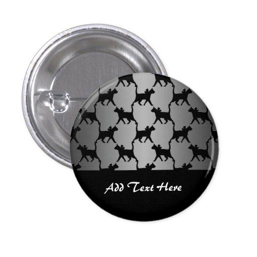 Cute Cat Silhouette Pattern Pinback Button
