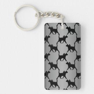 Cute Cat Silhouette Pattern Key Ring