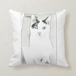 Cute Cat Sketch Throw Pillow