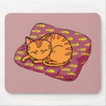 Cute cat sleeping mouse pad