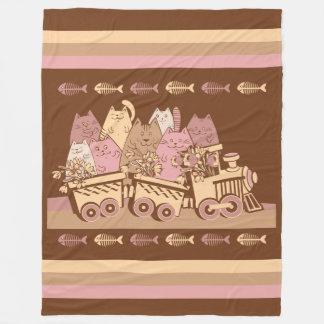 Cute Cat Train Fleece Blanket