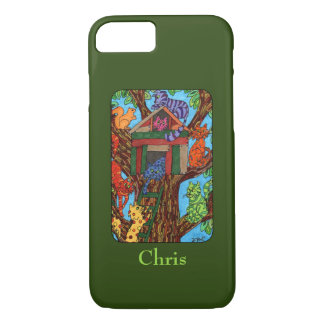 Cute Cat Tree House Custom Name iPhone 8/7 Case