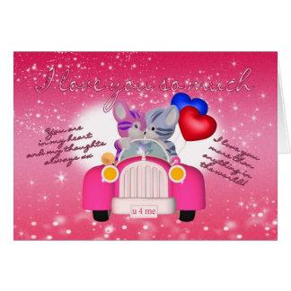 Cute Cat Valentine's Day Card In Little Car