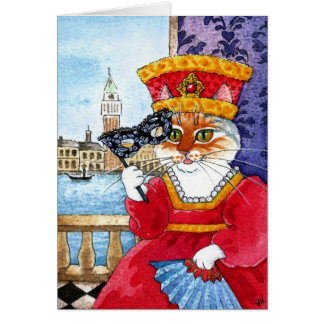 Cute Cat Valentines Day or Carnival card