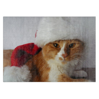 Cute Cat Wearing Santa Hat Cutting Board