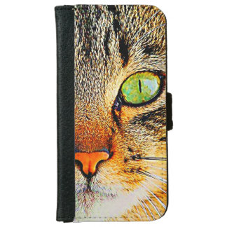 Cute Cat with Beautiful Green Eyes iPhone 6 Wallet Case