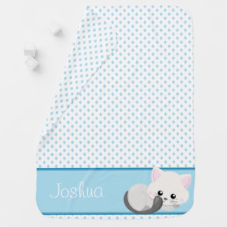 Cute Cat with Blue Diamonds Pattern | Personalized Baby Blanket