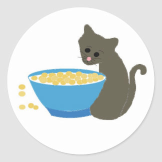 Cute Cat with Blue Food Dish Round Sticker