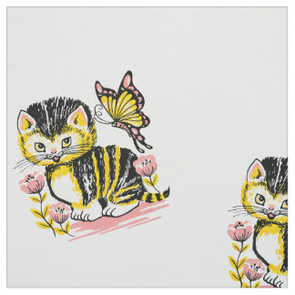 Cute cat with butterfly on flower illustration fabric