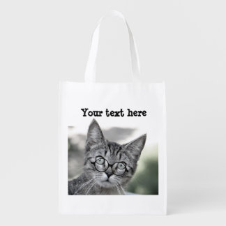 Cute Cat with Glasses Reusable Bag