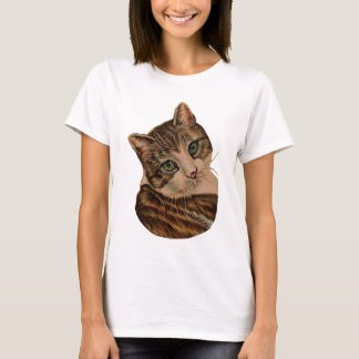 Cute Cat with Green Eyes and Tilted Head T-Shirt