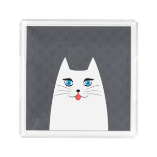 Cute cat with tongue sticking out acrylic tray