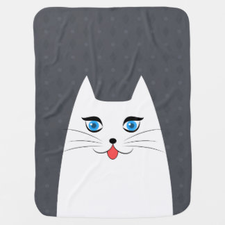 Cute cat with tongue sticking out baby blanket