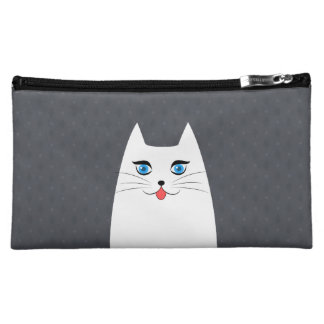 Cute cat with tongue sticking out cosmetic bag