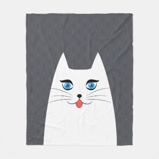 Cute cat with tongue sticking out fleece blanket