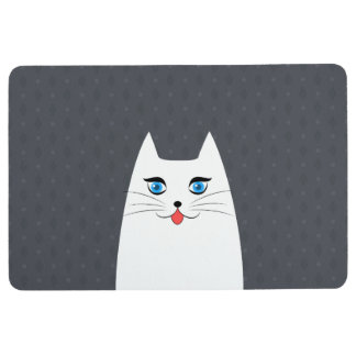 Cute cat with tongue sticking out floor mat