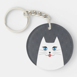 Cute cat with tongue sticking out key ring