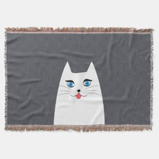 Cute cat with tongue sticking out throw blanket