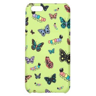 Cute Caterpillars Butterflies Green Background iPhone 5C Case