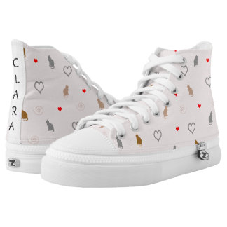 cute cats and hearts pattern printed shoes
