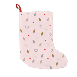 cute cats and hearts pattern small christmas stocking