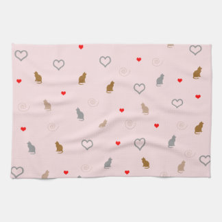 cute cats and hearts pattern tea towel