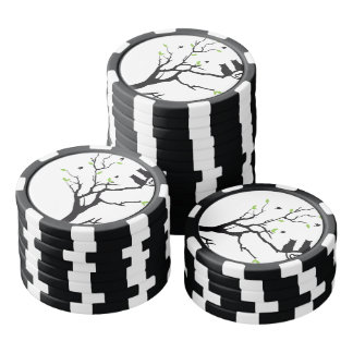 Cute cats and tree tree silhouette picture poker chips