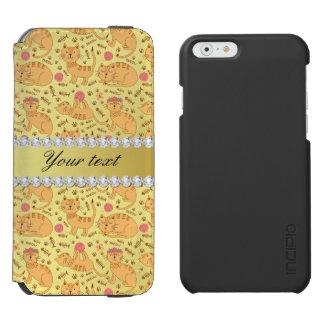 Cute Cats Faux Gold Foil Bling Diamonds Incipio Watson™ iPhone 6 Wallet Case