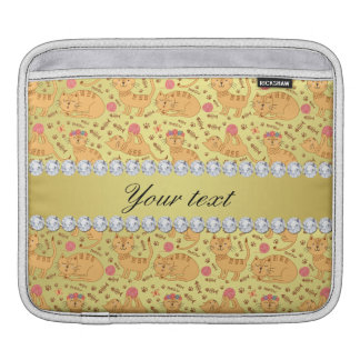 Cute Cats Faux Gold Foil Bling Diamonds iPad Sleeve