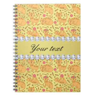 Cute Cats Faux Gold Foil Bling Diamonds Notebook