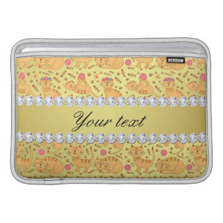 Cute Cats Faux Gold Foil Bling Diamonds Sleeve For MacBook Air