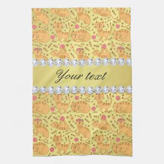 Cute Cats Faux Gold Foil Bling Diamonds Tea Towel