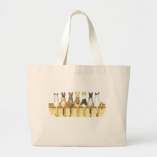 Cute cats lineup backsides reusable bag