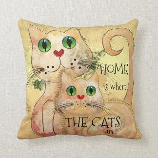 Cute Cats Original Art Pillow