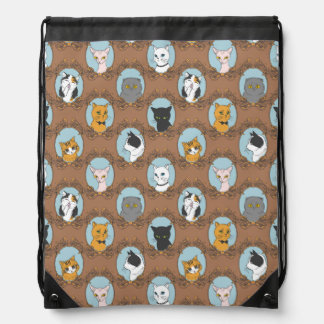 Cute Cats Pattern Drawstring Bag