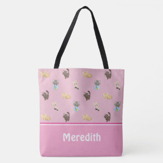 Cute Cats Pattern | Pink | Personalised Tote Bag