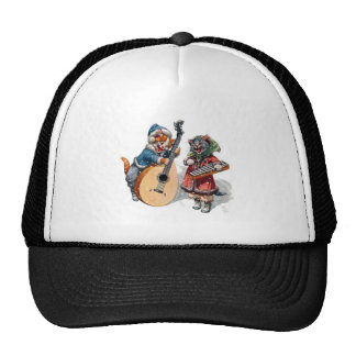 Cute Cats Play Mandolin and Xylophone in the Snow Mesh Hat