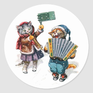 Cute Cats Play the Accordion in the Snow Round Sticker