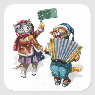 Cute Cats Play the Accordion in the Snow Square Sticker