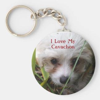 Cute Cavachon Puppy Keychain